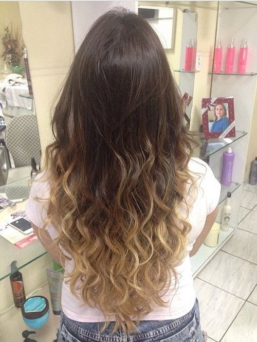 Dark hair with blonde ombre for long hair