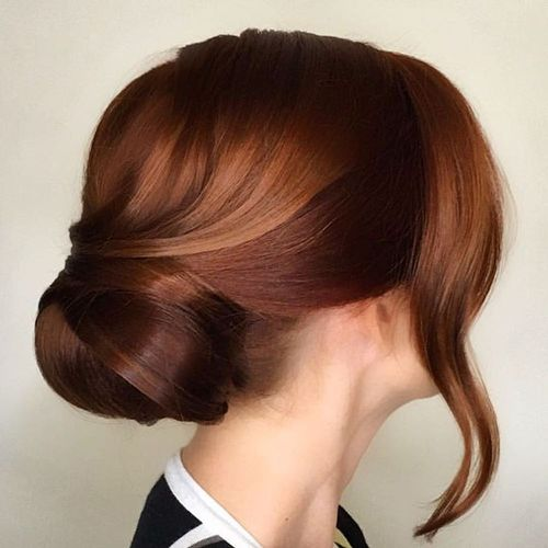 Brown bun updo hairstyle