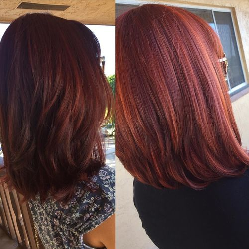 Red long layered bob hairstyle