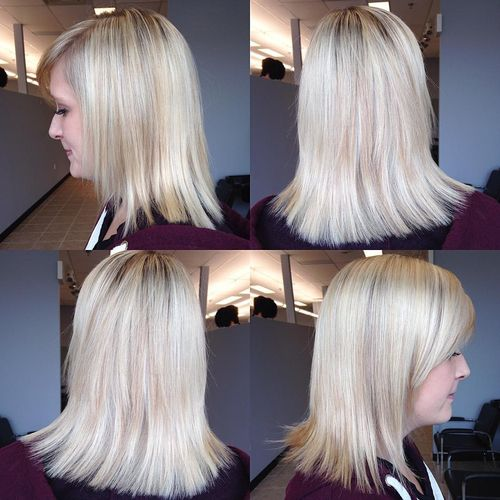 Blonde long layered bob hairstyle