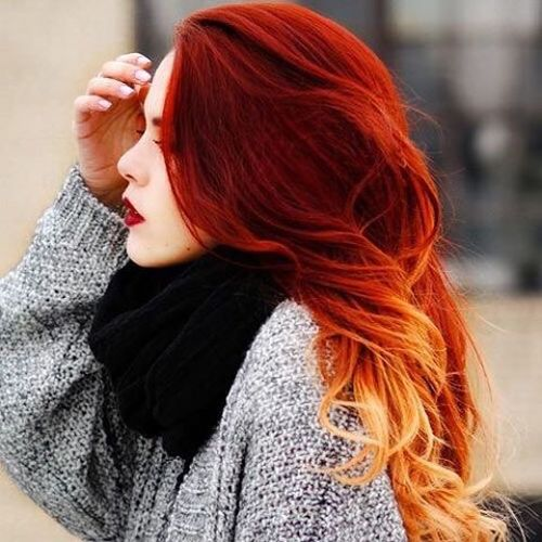 Red hair with ombre for long hair