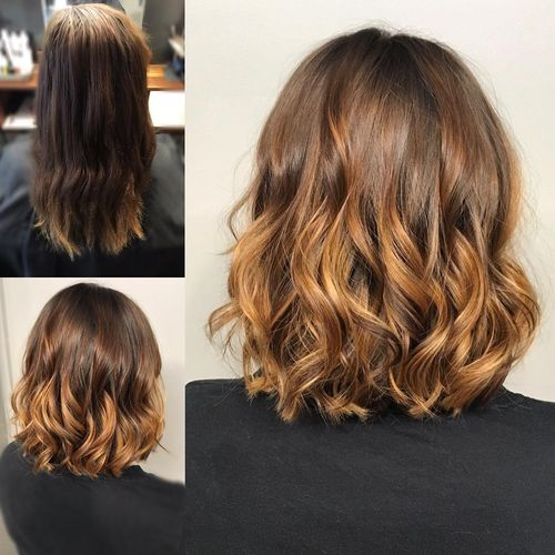 Curly long layered bob hairstyle