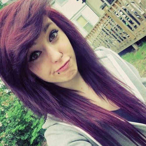 Dark purple emo hairstyles for girls
