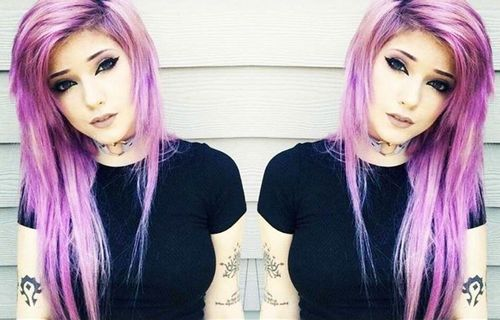 Light Purple emo hairstyles for girls