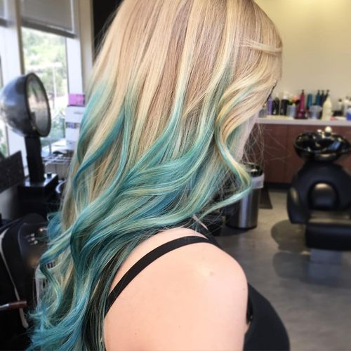 Fine light hair with blue ombre for long hair