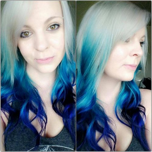 Fantastic light hair with blue ombre for long hair
