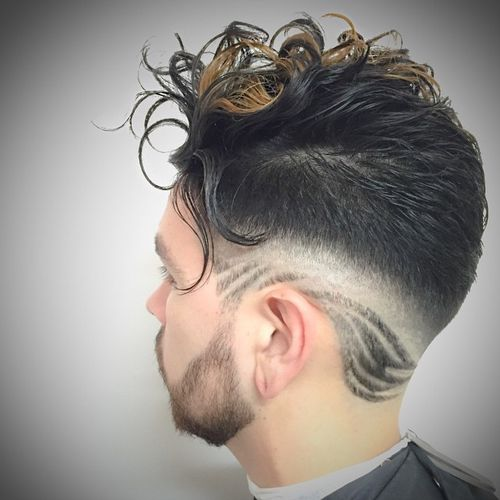 Cocky Hairstyle with Dyed Curls