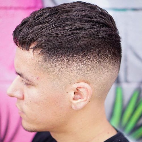 Short sides long top haircuts for men modern caesar with shaved sides urmus Images