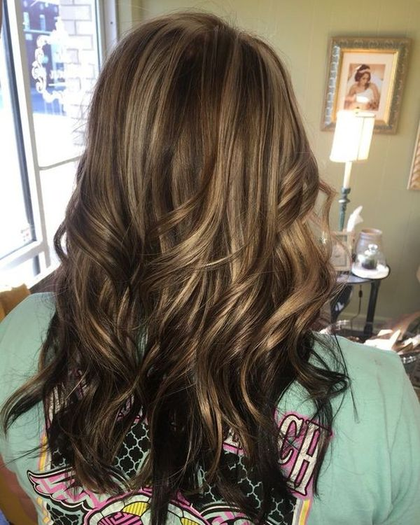 The classic way of the dark and fair caramel highlights on the brown hair