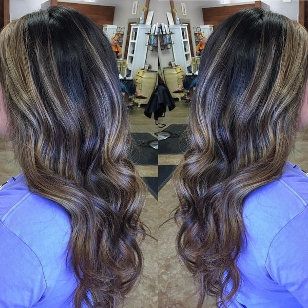 The Chocolate Balayage On Long Dark Hair