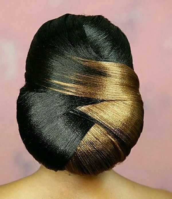 Sleek Gold Chignon with Central Parting