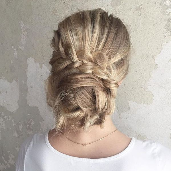 Loose Dutch Braid Wrapping the Bun