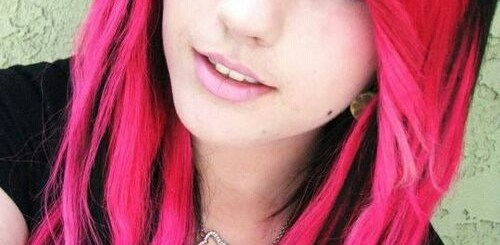 Black and pink long hairstyle