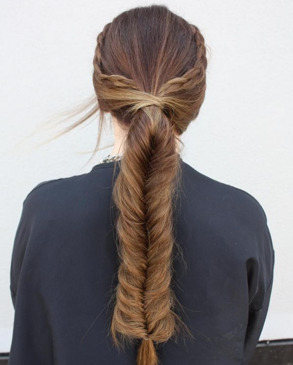 Double Braid Twisted Fishtail Pony