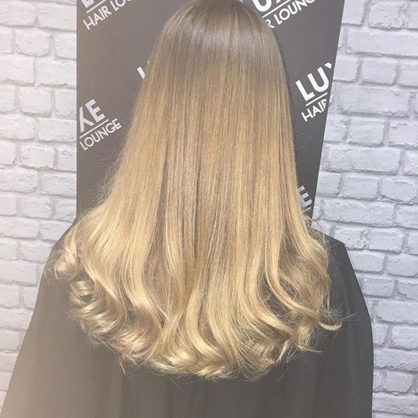 Blended Straight Up Curly Down Hairstyle