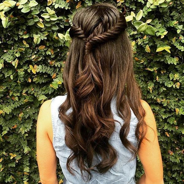 Half Updo + Fishtail Braid