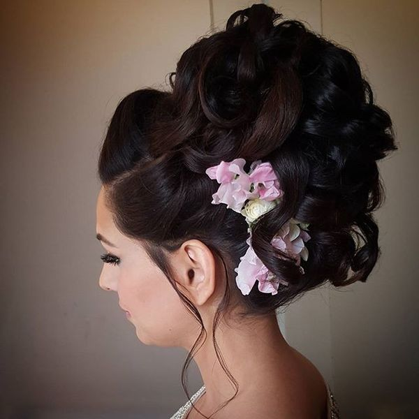 Huge Wavy Upstyle with Floral Design