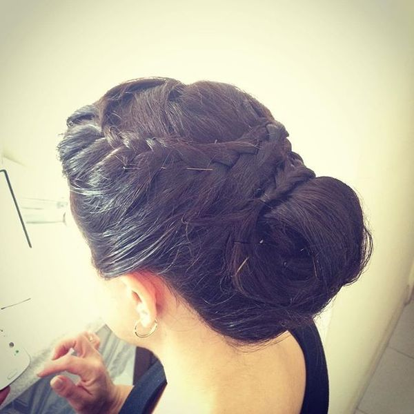 Low Bun Updo with Wreath Braid