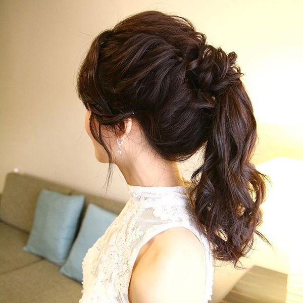 Messy Bridal Ponytail