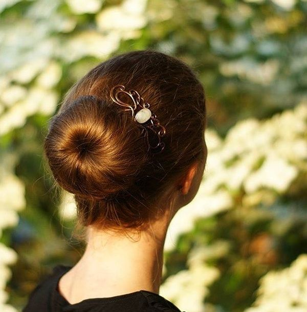 Sock Bun with Pretty Headpiece
