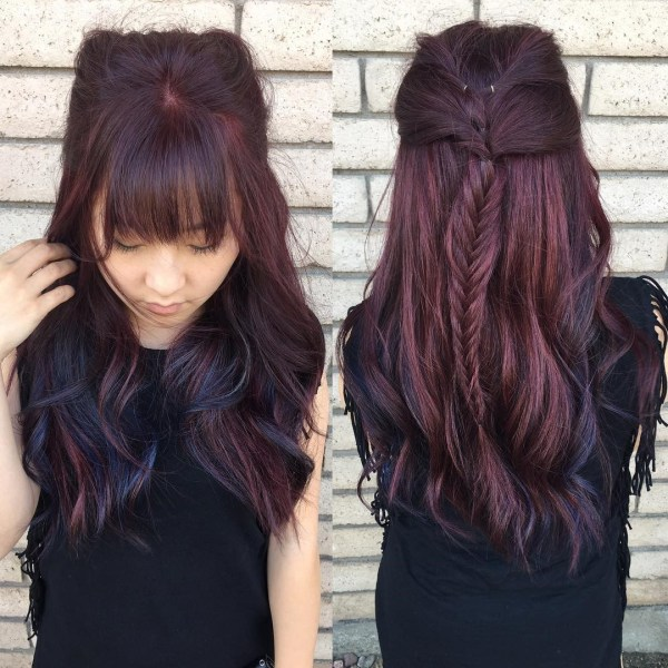 Burgundy hair with dark red purple and brown highlights braiding hair with blue highlights pmusecretfo Choice Image