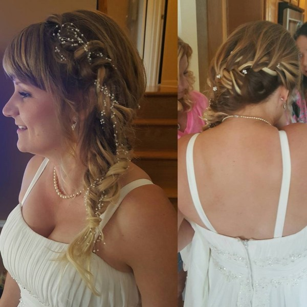 Bridal French braiding and a fishtail on one side