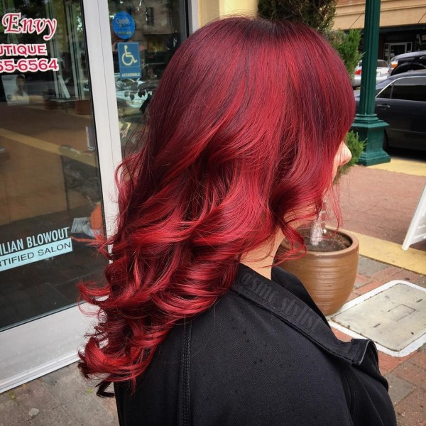 Burgundy hair with dark red purple and brown highlights crimson shade variations pmusecretfo Images
