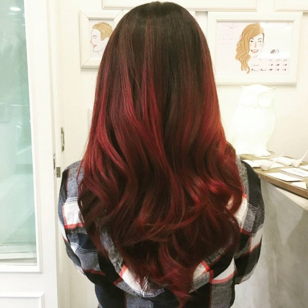Burgundy hair with dark red purple and brown highlights crimson tone for tumbling waves pmusecretfo Images