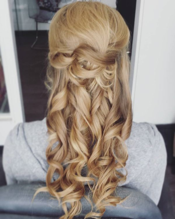 Curled half updo