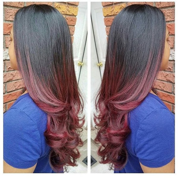 Burgundy hair with dark red purple and brown highlights from black to crimson balayage pmusecretfo Images
