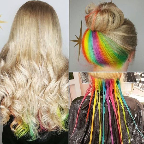 Long blonde hairstyle with rainbow coloring