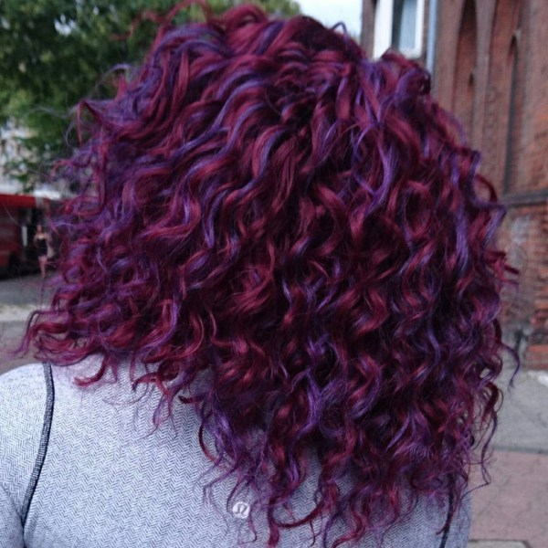 Burgundy hair with dark red purple and brown highlights purple curly hair design pmusecretfo Image collections