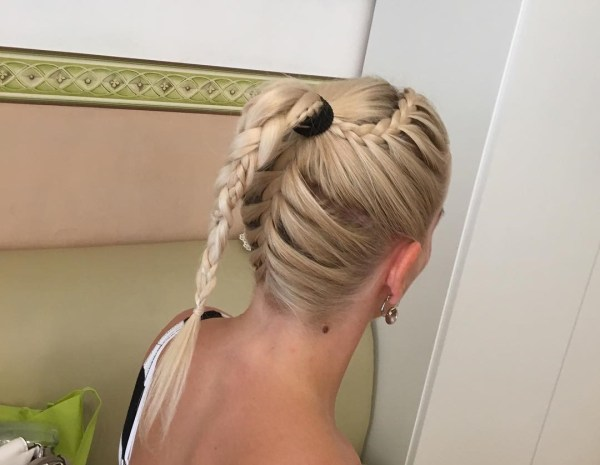 Upper and under braided hairdo