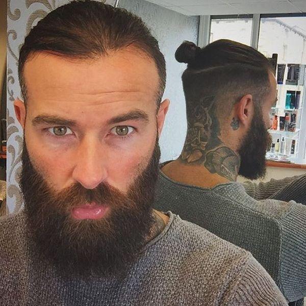 Manly hairstyle with a tattoo
