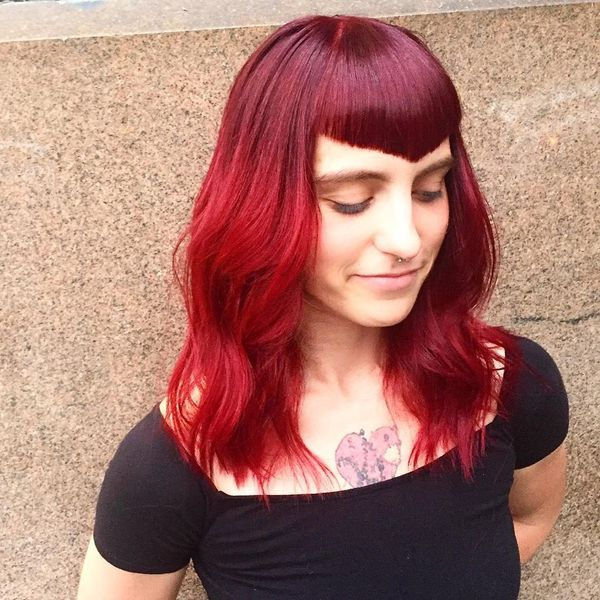 Edgy bang with deep violet and red velvet