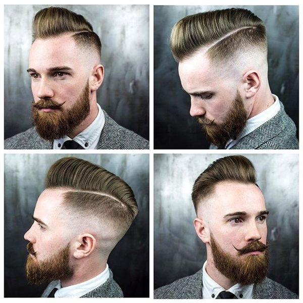 25 Skin Fade Pomp with Razor Side Part
