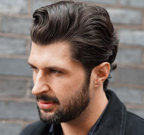 Twisted pompadour with the beard