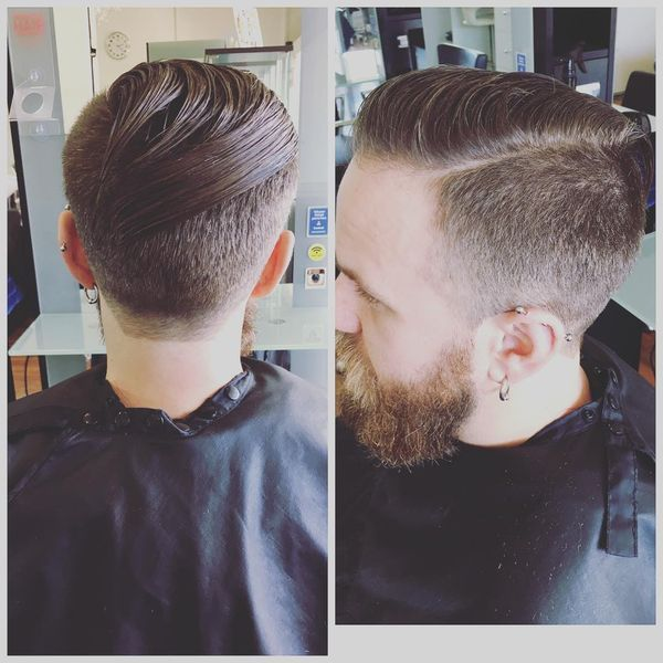 Curved Slick Back Haircut