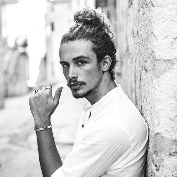 32 Messy Male Bun Option for Wavy Hair