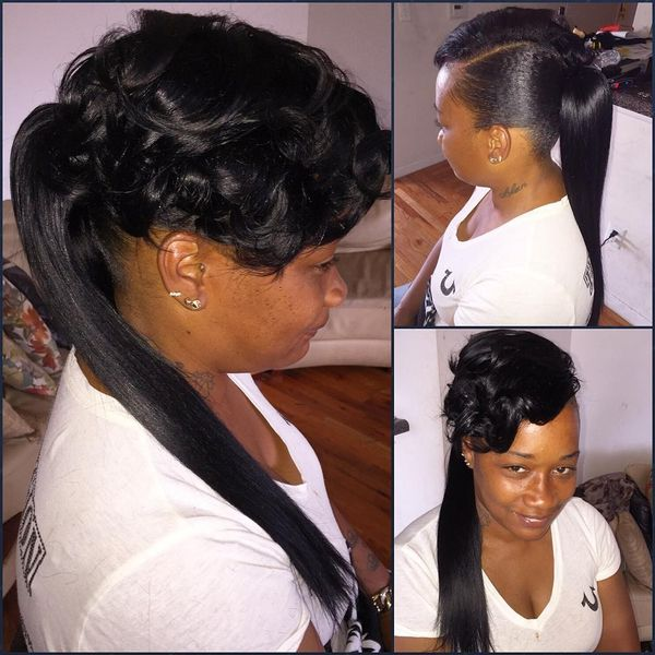 Middle Ponytail Wavy Bang And Asymmetrical Part