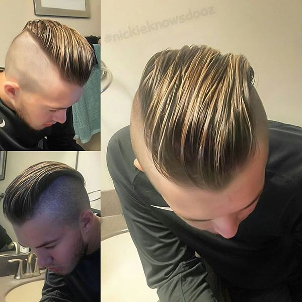 Long Fair Edges, Dark Roots And Shaved Sides