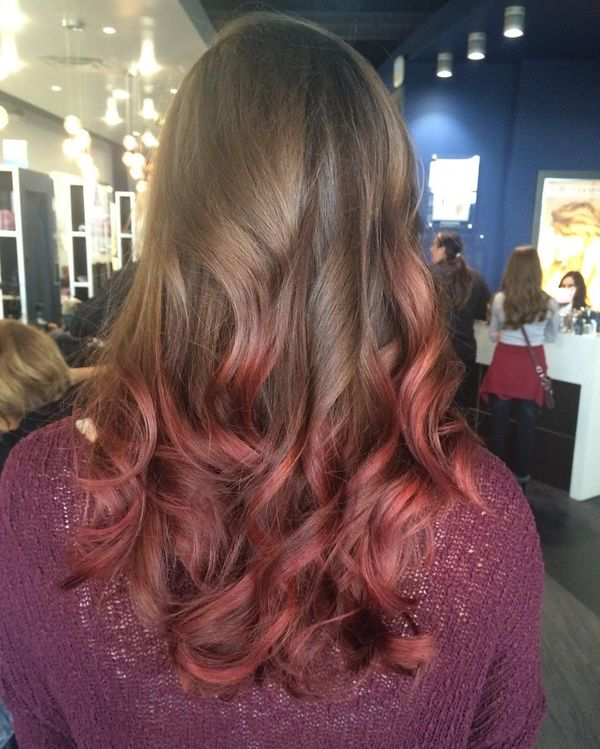 Natural side with crimson ombre