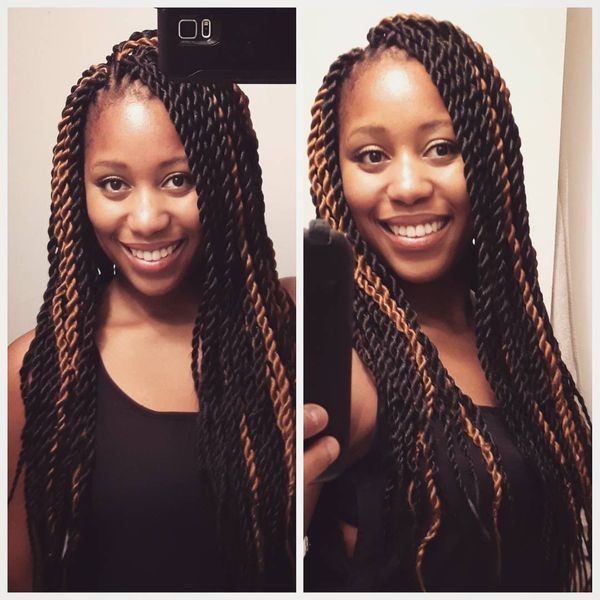Long Luscious Twists With Golden Brown Tips
