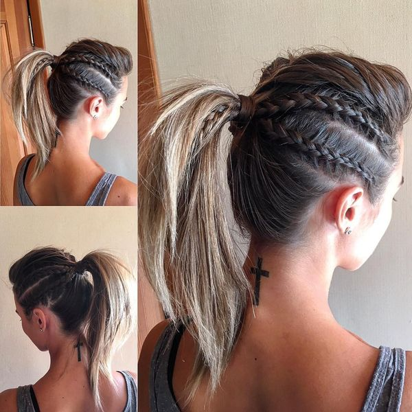 Styled ponytail with braided sides