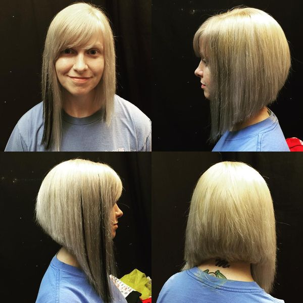 Contrasting Long Bobs with a Slanting Bang1