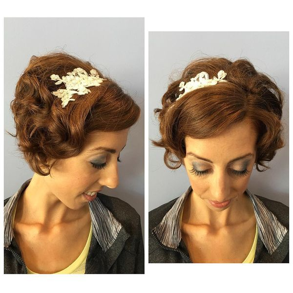 Curly Festive Updo with a Headpiece0
