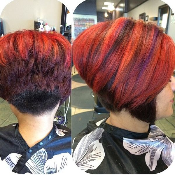 Fiery Shades of ALine Hairdo with a Shaved Neck2