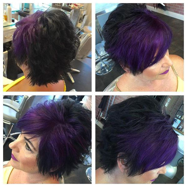 Purple Front Black Back Shag Haircut0