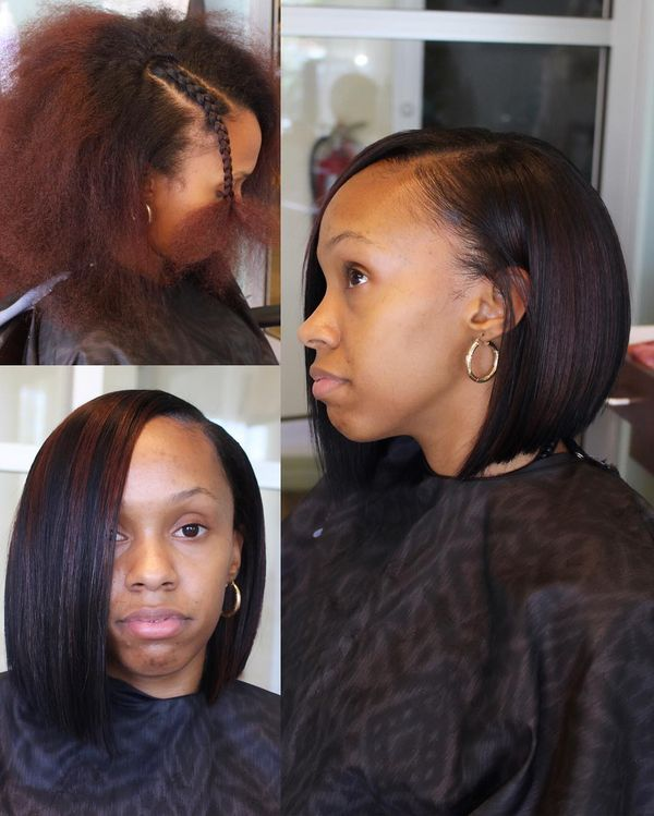 Smooth Afro Hairstyle with Maroon Highlights0