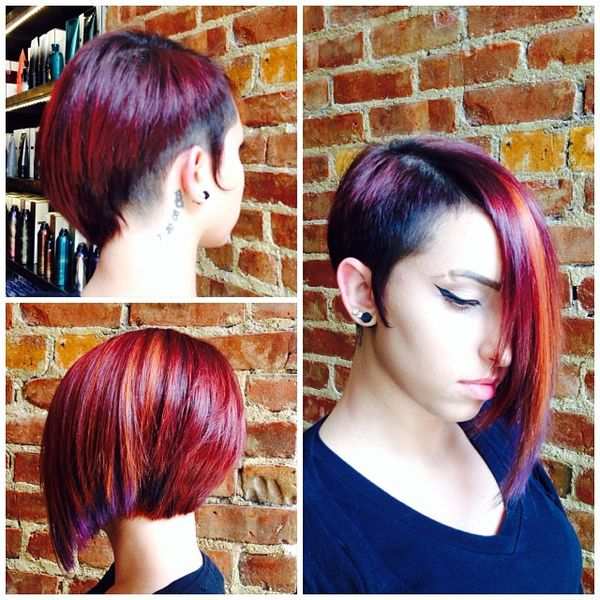 Splendid Asymmetrical Haircut in Red0